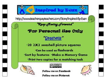 """""""Seashells"""" Picture Matching/Flashcards/Memory Game for Autism"""