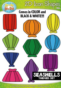 Seashells 2D Icon Shapes Clipart {Zip-A-Dee-Doo-Dah Designs}