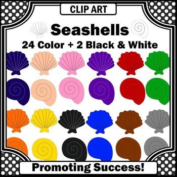 Seashells in Rainbow Colors Clip Art for Summer Beach or O