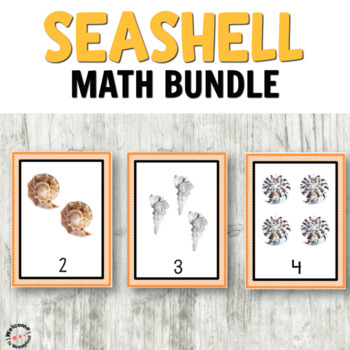 Seashells numbers, counting, and addition cards for math centers or Montessori