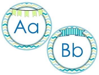 Seashore Chevron (Blue-Green) Word Wall Headers