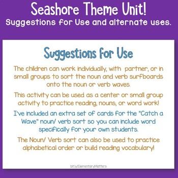 Seashore Noun and Verb Sort