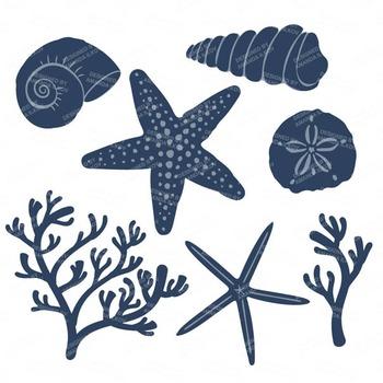 Seashore Shells & Coral Clipart in Americana
