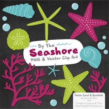 Seashore Shells & Coral Clipart in Bohemian
