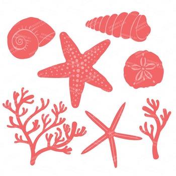 Seashore Shells & Coral Clipart in Coral