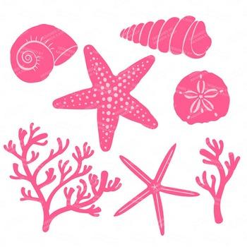 Seashore Shells & Coral Clipart in Crayon Box