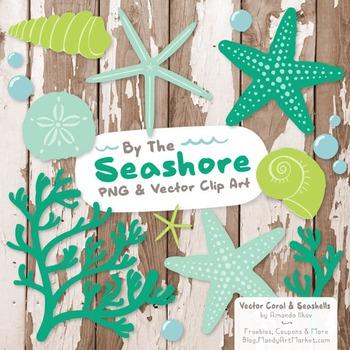 Seashore Shells & Coral Clipart in Emerald Isle