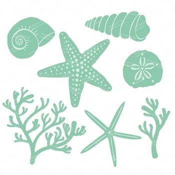 Seashore Shells & Coral Clipart in Mint