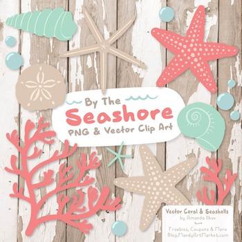 Seashore Shells & Coral Clipart in Mint & Coral