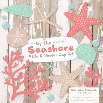 Seashore Shells & Coral Clipart in Mint & Coral