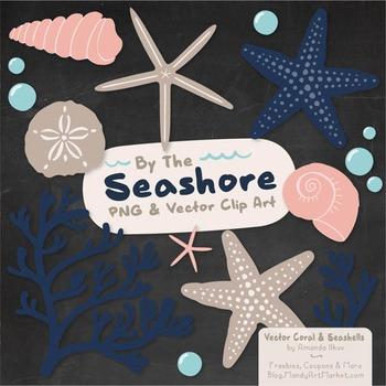 Seashore Shells & Coral Clipart in Navy & Blush