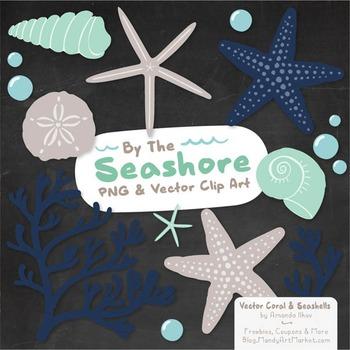 Seashore Shells & Coral Clipart in Navy & Mint