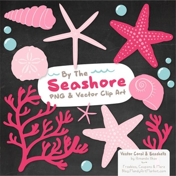Seashore Shells & Coral Clipart in Pink