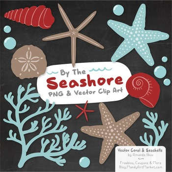 Seashore Shells & Coral Clipart in Red & Robin Egg