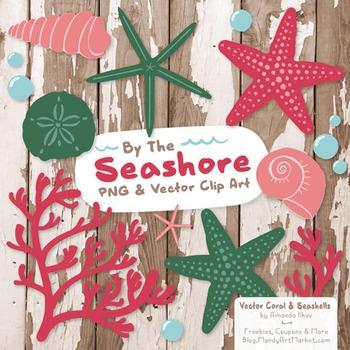 Seashore Shells & Coral Clipart in Rose Garden