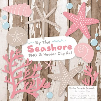 Seashore Shells & Coral Clipart in Soft Pink