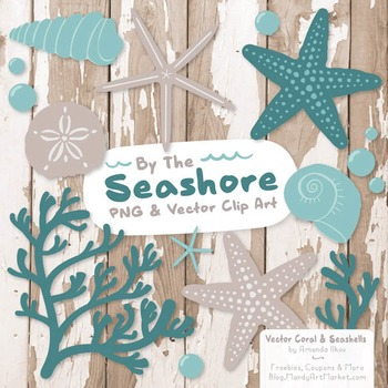 Seashore Shells & Coral Clipart in Vintage Blue