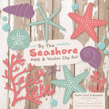 Seashore Shells & Coral Clipart in Vintage Girl