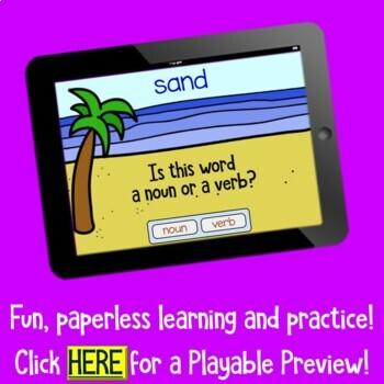 Seashore Theme Noun or Verb  BOOM Cards