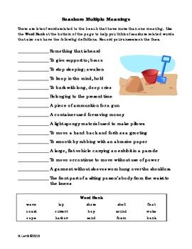 Seashore multiple meaning vocabulary