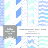 Seaside Blue Digital Paper Pack - 12x12 - High Resolution