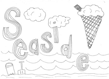 Seaside Colouring Page