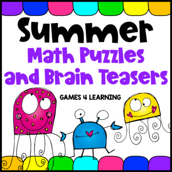 Summer Math Packet - Puzzle Worksheets and Brain Teasers
