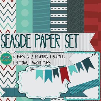 Digital Paper and Frame Set- Seaside