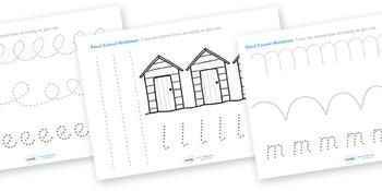 Seaside Pencil Control Worksheets
