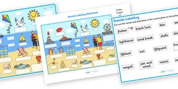 Seaside Scene Labeling Worksheet
