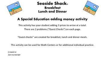 Seaside Shack Adding Money Activity