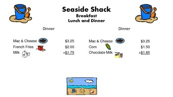 Seaside Shack Adding Money Activity