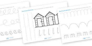 Seaside Themed Pencil Control Worksheets