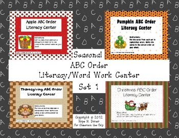 Seasoanl ABC Order Literacy/Word Work Center Set 1