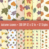 Season Autumn Leaf Patterns for Backgrounds and Crafts • Printable Clip Art