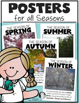 Seasons Posters for Kindergarten & First - Create a Classroom Seasons Photo Wall