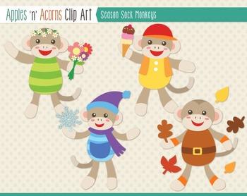 Season Sock Monkeys Clip Art - color and outlines