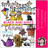 Season Spring clip art - BLACK AND WHITE- by Melonheadz