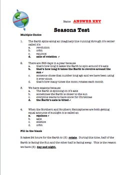 Season Test (12 and 20 question version) with keys