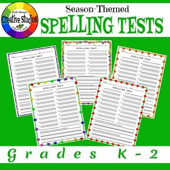 Season-Themed Spelling Tests Grades K-2