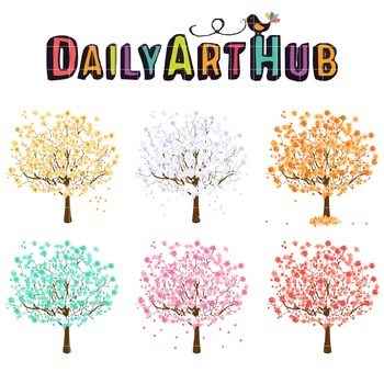 Season Trees Clip Art - Great for Art Class Projects!