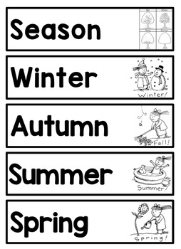 Seasons Science Vocabulary with Images for Word Wall