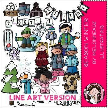 Season Winter clip art - LINE ART- by Melonheadz