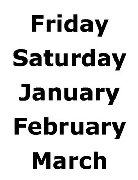 Season, days of the week and Months Calendar Labels
