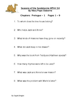 Season of Sandstorms Magic Tree House #34 Reading Comprehension Questions