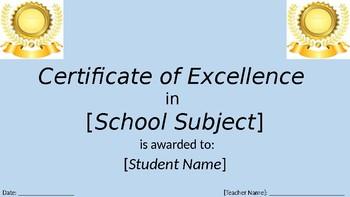 K-5th grade editable award certificates