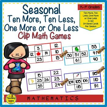 10 More, 10 Less, 1 More or 1 Less Seasonal Math Clip Games