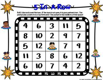 5 In a Row Seasonal 2 & 3 Addend Addition Math Games