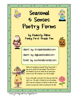 Seasonal 5 Senses Poetry Forms