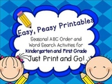 Easy, Peasy Printables: Seasonal ABC Order and Word Search Activities
